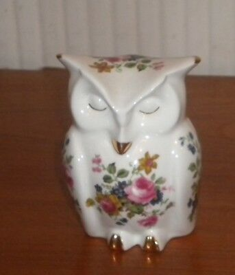 Georgeous Crown fine bone china Floral owl excellent condition