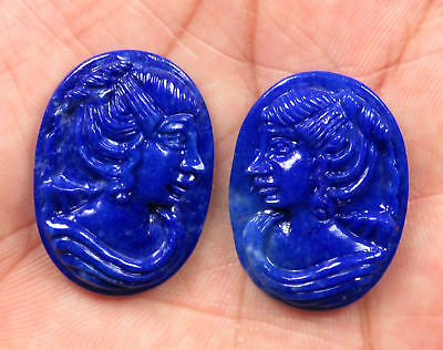 46.7 Cts Natural Lapis Lazuli Carved Face Hand Crafted Carving Pair 29 x 21 mm