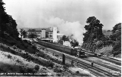 Surbiton Railway Station & Main Line B&W postcard by Friths