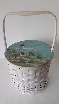 Sewing Basket Utility Basket Lighthouse Painted