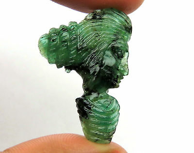 16.2 Cts Natural Zambian Emerald Carved Lady Face Hand Crafted Carving 30 x 21mm
