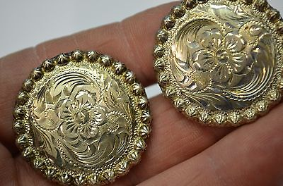 "Fleming Silver Overlay Berry Bead Floral Engraved Saddle Conchos 1 5/16"" w/Screw"