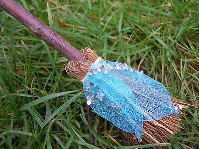Witches Mini broom Besom Altar spells spell supplies Pagan Witchcraft Blue leaf