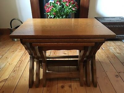 Solid Heavy Wood Oak Nest Of 3 Side Tables Shabby Chic Project