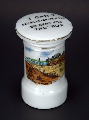 Antique Pre-WW1 China Post/Mail/Letter Box - Seaside Souvenir of Rhyl, Wales