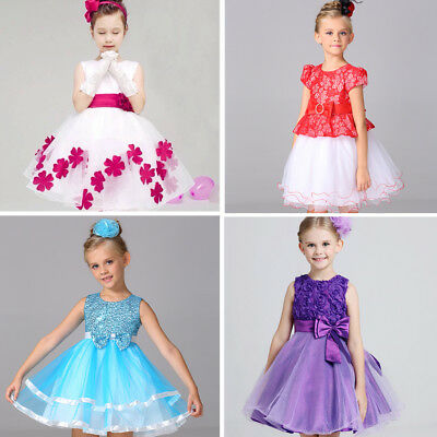 Girls Dress Party Sequinned 3D Rose Formal Wedding Bridesmaid Christmas Dress