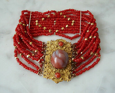 Antique VICTORIAN Fine EDWARDIAN Agate Italian Coral Bead PINCHBECK Bracelet