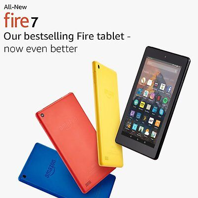 "All New Kindle Fire 7 Tablet ALEXA 7"" Display 8 GB-7th GEN-Black-Blue-Red-Yellow"