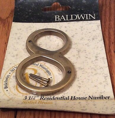 Baldwin Brass Residential house Number 8 eight length of 3 1/4 inches