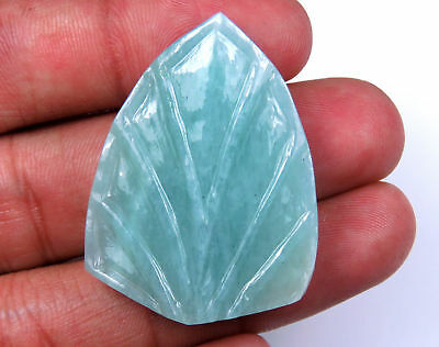 62.8 CTS Natural Amazonite Carved Shield Shaped Hand crafted 40 x 30 mm Carving