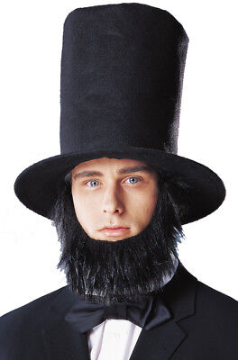 Brand New Abraham Lincoln Hat with Beard Halloween Costume Accessory