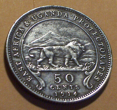 British East Africa and Uganda, 1914 George V Fifty Cents, 50 Cents.