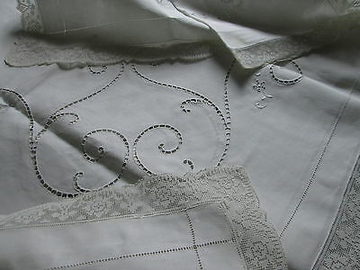 "ANTIQUE TABLECLOTH Italian Reticella Lace Embroidered Filet 68""x84"" White Linen"
