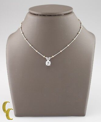 "Round Diamond Solitaire Pendant w/ 14k Two-Tone Gold 18"" Curb Chain TDW = .45 ct"