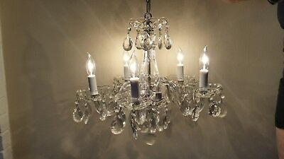 Mid Century Vintage Italian Crystal Glass Chandelier Ceiling Fixture Rewired