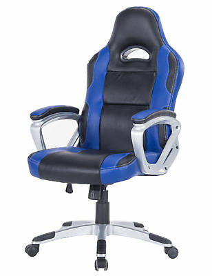 PU Leather High Back Computer Seat Racing Style Recliner Swivel Gaming Chair BLK