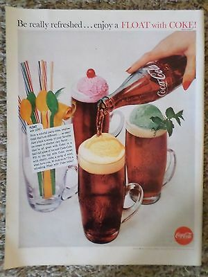 1960 Enjoy a Float with Coke Coca Cola Soda Pop Photo Magazine AD