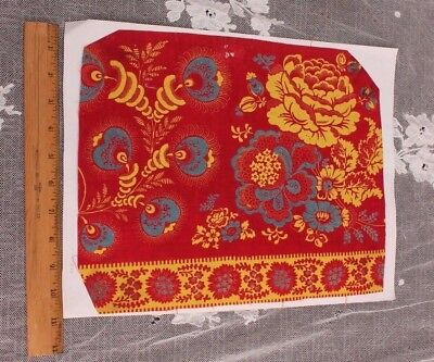 Antique French Turkey Red,Yellow &Blue Resist & Block Printed Fabric Sample