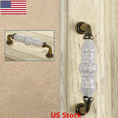 US Vintage Ceramic Handle Knobs Cabinet Drawer Cupboard Door Pulls Knobs Kitchen