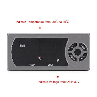 12-24V Car LED Digital Thermometer Voltmeter Monitor Clock Dual USB Charger