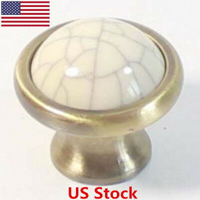 US 10x38mm Round Crackle Ceramic Kitchen Cabinet Cupboard Door Knob Pull Handle