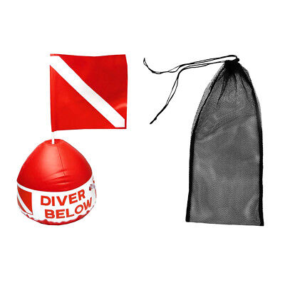 Diving Swim Fin Shoes Mesh Bag + Red & White Scuba Flag with Inflatable Buoy