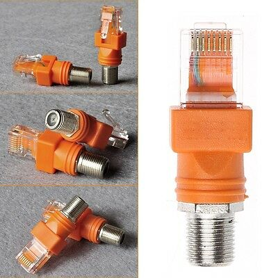 F Female To RJ45 Male Coaxial Barrel Coupler Adapter RJ45 To RF Converter 1PC
