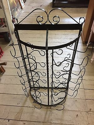 Vintage Black Metal Framed Wine Rack Holder Stand Holds 24 bottles 105cm Tall