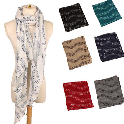 Ladies Musical Note Neck Womens Long Scarf Wrap Shawl Stole Muffler Scarves