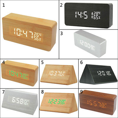 Modern Digital LED Wood Wooden Desk Alarm Clock Timer Thermometer Voice Control