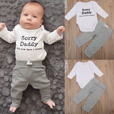 US Newborn Baby Boy Infant Cotton Playsuit Romper Jumpsuit+Pant Outfit Clothes Z