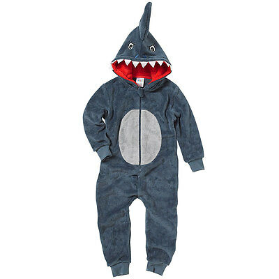 Boys Scary Shark Onezie Fleece Hooded Novelty Character Jumpsuit Playsuit Grey