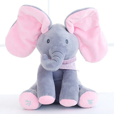 Pink Peek-a-boo Elephant Singing Baby Plush Toy Stuffed Animated Kids Soft Toys*
