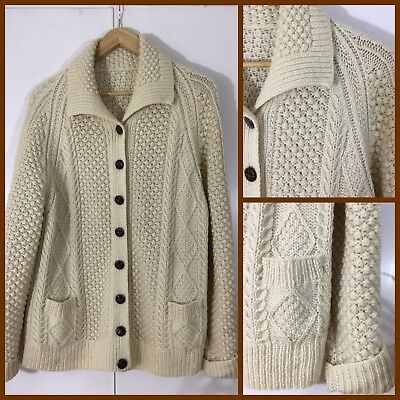 CREAM PURE WOOL Cable Knit FISHERMAN CARDIGAN Leather Look Buttons
