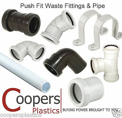 Push Fit Plumbing Pipe & Fittings incl Bends, Branches, Tee & Clips 32mm or 40mm