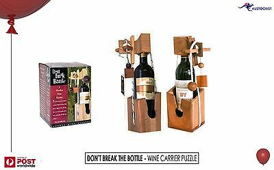 Don't Break The Bottle Wood Wine Carrier Puzzle Gift BNIB Wood Display piece gam
