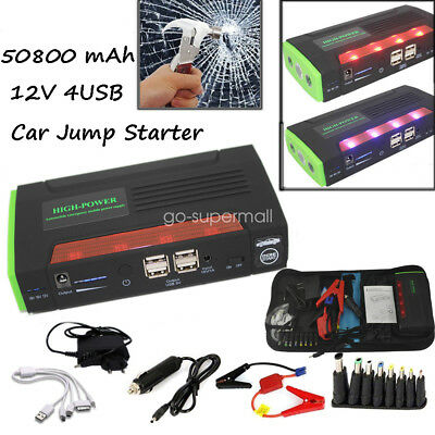 68800mAh Auto Car Jump Starter Power Bank Emergency Battery Charger For Laptop