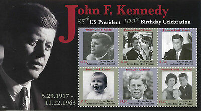 Union Island Gren St Vincent 2017 MNH JFK John F Kennedy 100th 6v M/S III Stamps