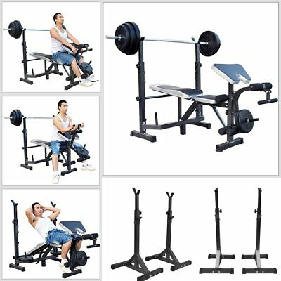 Heavy Duty Adjustable Gym Squat Barbell Power Rack Stand Weight Bench Support SY