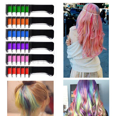 6 Colours Temporary Washable Dying Hair Chalk Comb Non-toxic Dye Party DIY Salon