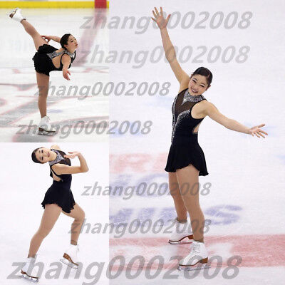 Ice skating dress.Black Competition Figure Skating dress. Baton Twirling custome