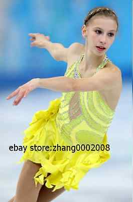 Ice skating dress.Yellow Competition Figure Skating dress.Baton Twirling custome
