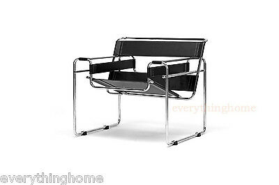 Wassily Black Leather Strap Chair Modern Chrome Steel Accent Lounge Designer New