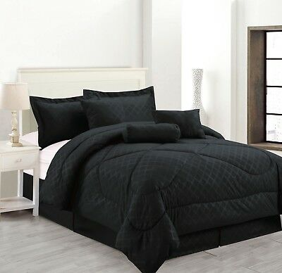 7 Piece Solid Luxury Hotel Comforter Set Bed In A bag All Sizes - Black