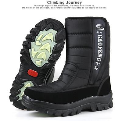 Mens Winter Fur Lined Snow Boots Waterproof Insulated Hunting Mid Calf boots