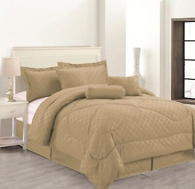 7 Piece Solid Luxury Hotel Comforter Set Bed In A bag All Sizes - Taupe