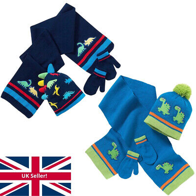 Younger Boys Knitted Dinosaur Bobble Hat Scarf and Mitts Set 2-6 Years Blue