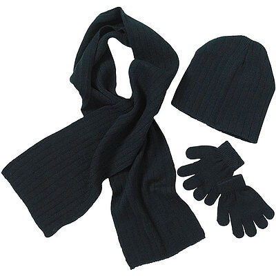 Back To School Boys Girls Beanie Hat Scarf Glove Set Black Navy Plain Colours