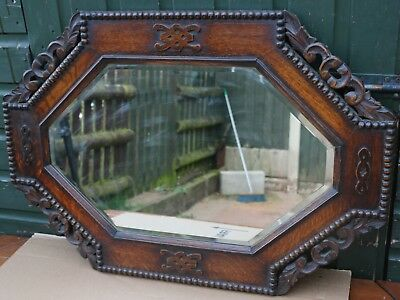 Beautiful Looking Old Carved Wooden Framed Bevel Edged Wall Mirror