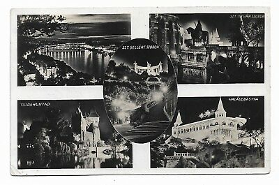 Budapest by Night 1920's Real Photo Multiview Postcard Karinger 666A